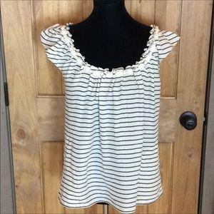 Rebecca Taylor striped cream silk top Size…